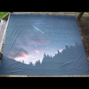 Shooting star in the mountains tapestry